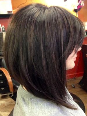 Стрижка боб на длинные волосы с челкой фото