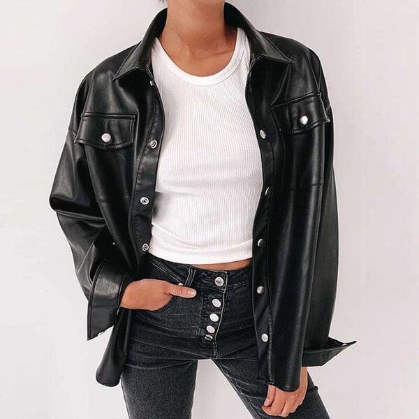 с чем носить кожаную черную рубашку оверсайз